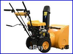 24 196cc Gas Snow Blower Thrower 2 Stage Shovel Walking Heavy Duty