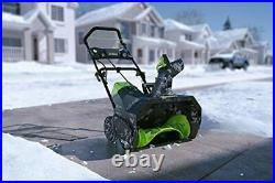 Cordless Snow Thrower Greenworks Pro 80V 20Inch 2Ah Battery Charger Included