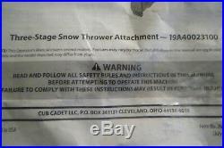 Cub Cadet 42 Inch 3 Stage Snow Thrower Blower XT3 Garden Tractor 19A40023100 New