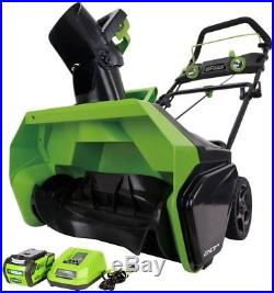 Greenworks Electric Snow Blower 20 in. 40V Lithium Ion Battery Charger Included