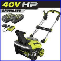 RYOBI 40V HP Brushless 21 in. Cordless Single Stage Snow Thrower with (2) 5.0