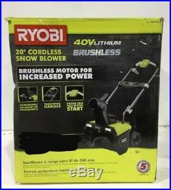 Ryobi RY40840 20 Inch 40 V Brushless Cordless Electric Snow Blower