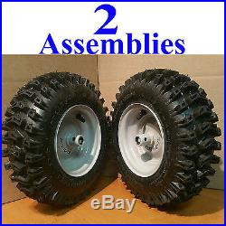 TWO 4.10-6 Snow Blower thrower TIREs RIMs WHEEL ASSEMBLY Americana 410-6 4.10x6